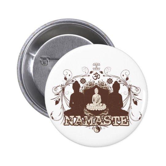 Namaste Buddha 6 Cm Round Badge