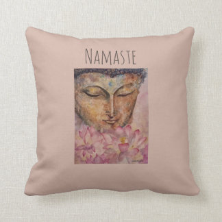 Namaste Buddha Watercolor Art Throw Pillow