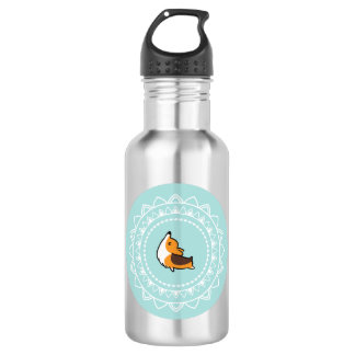 Namaste Corgi Tricolor Blue Emblem Water Bottle