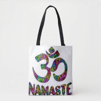 Namaste Crown Chakra Symbol Tote Bag