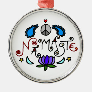 Namaste Doodles Silver-Colored Round Decoration