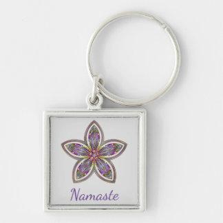 Namaste flower mandala key ring