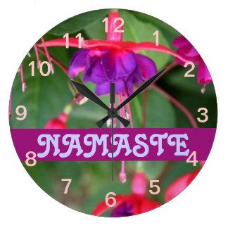 NAMASTE fuschia clock