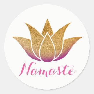 Namaste Gold Glitter Lotus Flower Yoga Classic Round Sticker