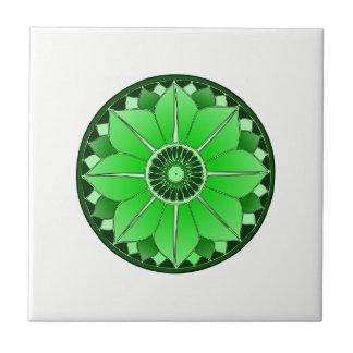 NAMASTE Green Flower Spiritual Lotus Mandala Tile