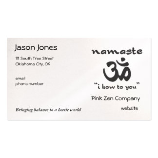 Namaste - I bow to you (in black) Business Cards
