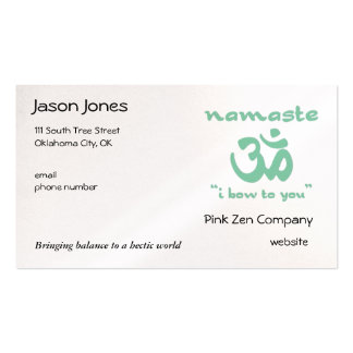 Namaste - I bow to you (in green) Double-Sided Standard Business Cards (Pack Of 100)