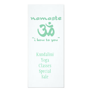 "Namaste - I bow to you (in green) 4"" X 9.25"" Invitation Card"