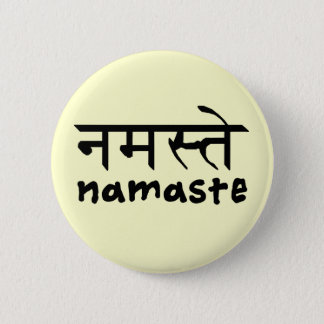Namaste in English and Hindi 6 Cm Round Badge