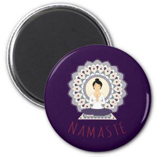 Namaste in Lotus Pose - Yoga Asana Woman magnet