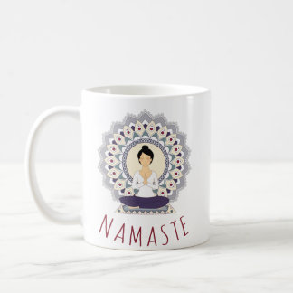 Namaste in Lotus Pose - Yoga Asana Woman Mug