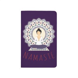 Namaste in Lotus Pose - Yoga Asana Woman Notebook