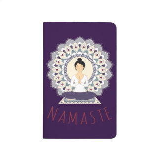 Namaste in Lotus Pose - Yoga Asana Woman Notebook Journal