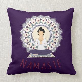 Namaste in Lotus Pose - Yoga Asana Woman Pillow