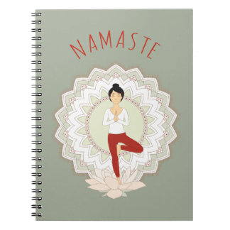 Namaste in Tree Pose - Yoga Asana notebook