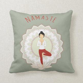 Namaste in Tree Pose - Yoga Asana pillow