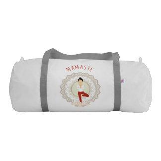 Namaste in Tree Pose - Yoga Asana Woman sport bag Gym Duffel Bag