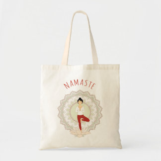 Namaste in Tree Pose - Yoga Asana Woman tote bag