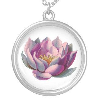 Namaste Lotus Blossom Round Pendant Necklace