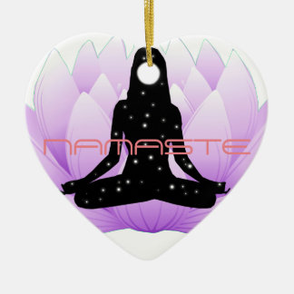 Namaste Lotus Flower Ceramic Heart Decoration