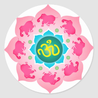 Namaste Lotus Flower Om Yoga Classic Round Sticker