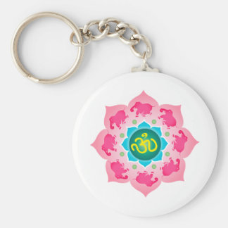 Namaste Lotus Flower Om Yoga Key Ring