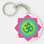 Namaste Lotus Flower Om Yoga Keychains