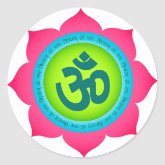 Namaste Lotus Flower Om Yoga Round Sticker