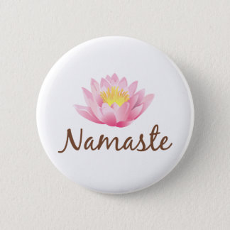 Namaste Lotus Flower Yoga 6 Cm Round Badge