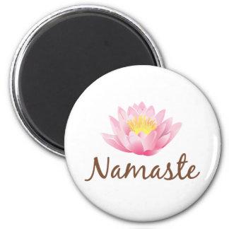 Namaste Lotus Flower Yoga 6 Cm Round Magnet