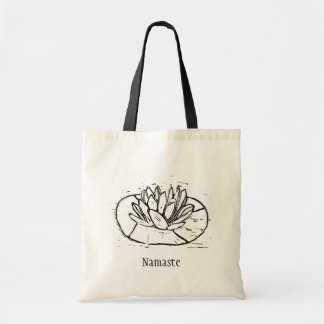 Namaste Lotus Lino Cut Design Tote Bag