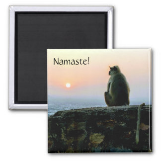 Namaste Meditation Yoga Monkey in India at Sunset Magnet