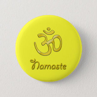 Namaste Om yellow button solar plexus chakra