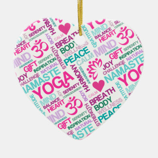 Namaste, Peace and Harmony Pink YOGA Pattern Christmas Ornament