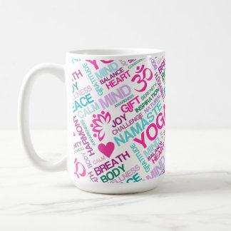 Namaste, Peace and Harmony Pink YOGA Pattern Coffee Mug