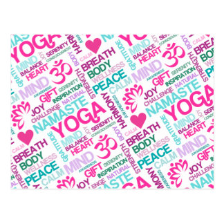 Namaste, Peace and Harmony Pink YOGA Pattern Postcard