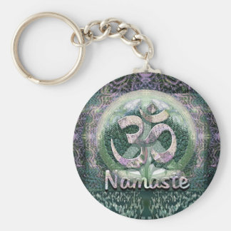 Namaste Peace Symbol Basic Round Button Key Ring