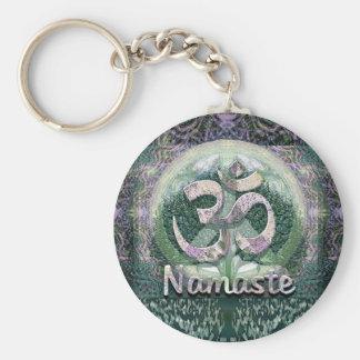 Namaste Peace Symbol Basic Round Button Key Ring