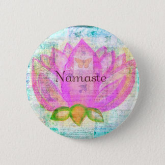 Namaste PINK LOTUS Peaceful Art 6 Cm Round Badge