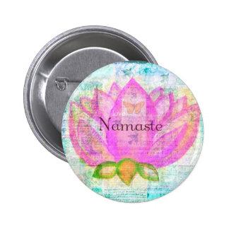 Namaste PINK LOTUS Peaceful Art 6 Cm Round Badge
