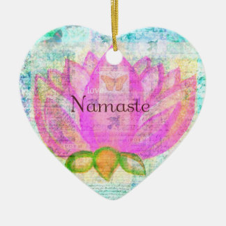 Namaste PINK LOTUS Peaceful Art Christmas Ornament