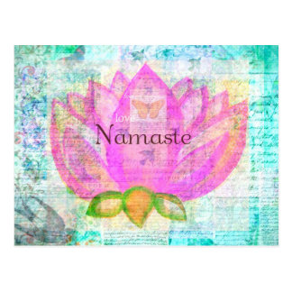 Namaste PINK LOTUS Peaceful Art Postcard