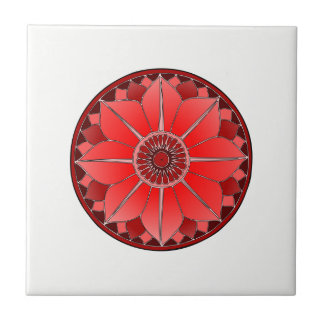 NAMASTE Red Flower Spiritual Lotus Mandala Tile