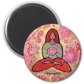Namaste Red Haired Yoga Girl Magnet