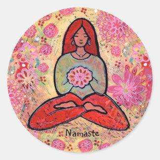 Namaste Red Haired Yoga Girl Sticker