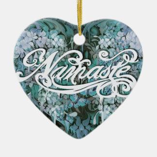 Namaste Script in Blue Ceramic Heart Decoration