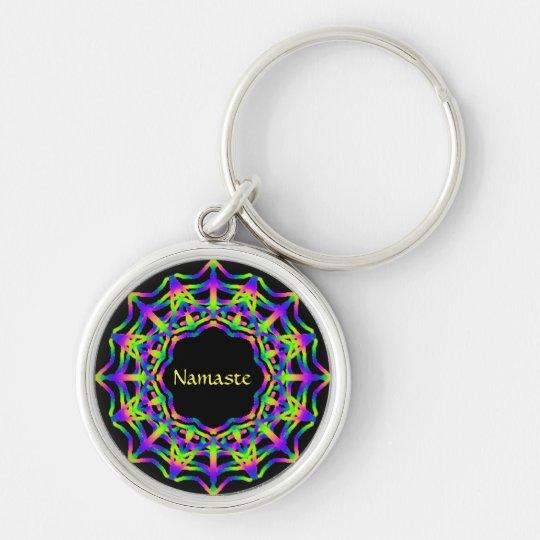 Namaste Silver-Colored Round Key Ring