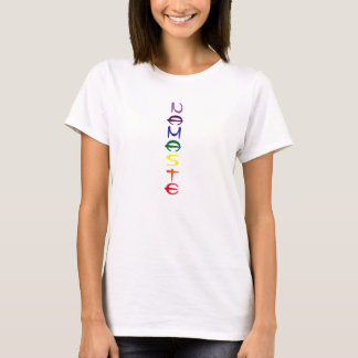 """""""Namaste"""" vertical words in chakra colors T-Shirt"""