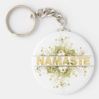 Namaste Vintage Floral Basic Round Button Key Ring