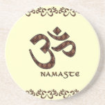 Namaste with Om Symbol Brown and Cream Coasters